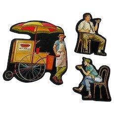 Hot Dog Cart Vendor Customers Cardboard Cut Outs - Magnetic Art - Teaching Tools - Holt Rinehart Winston - Educational Materials - Classroom