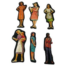 House Wives Set Of Six Cardboard Cut Outs - Magnetic Art - Teaching Tools - Holt Rinehart Winston - Educational Materials - Classroom