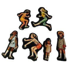 Girls Playing Cardboard Cut Outs - Magnetic Art - Teaching Tools - Holt Rinehart Winston - Educational Materials - Classroom