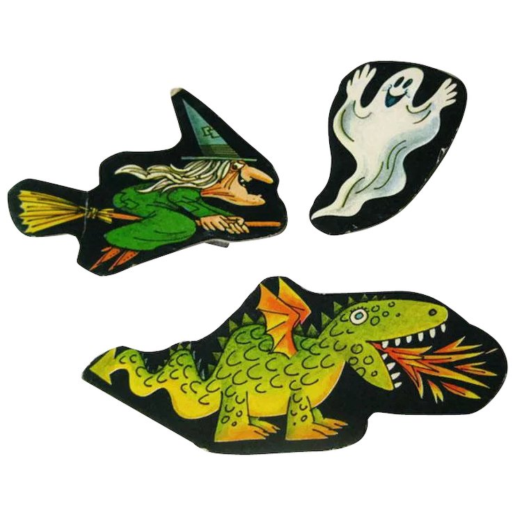 Witch Dragon And Ghost Cardboard Cut Out Set
