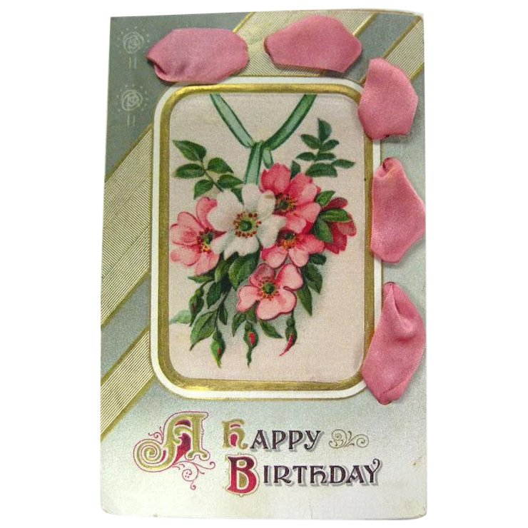 Art Nouveau Postcard With Satin Ribbon Accent Happy Birthday