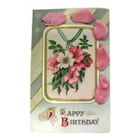 Art Nouveau Postcard With Satin Ribbon Accent Happy Birthday Postcard Vintage Greeting Card