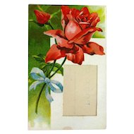 Red Rose Picture Frame Postcard Vintage Ephemera Unusual Post Cards
