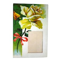 Frame Postcard With Yellow Rose Vintage Post Cards Vintage Ephemera