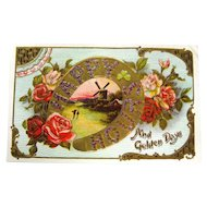Vintage Greetings Postcard HAPPY HOURS Vintage Ephemera