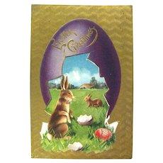 Easter Greeting Vintage Postcard Ephemera Gold Foil Post Cards
