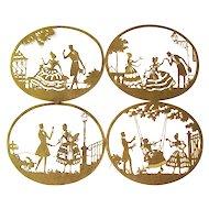 Cut Paper Art Silhouettes Gold Foil Romantic Scenes - Vintage Die Cuts - Scherenschnitt Art