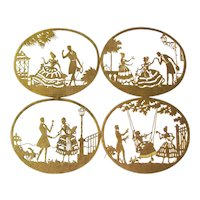 Gold Foil Die Cut Silhouettes Set of 4 Scenes - Vintage Paper Art - Home Decor