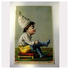 Vintage Trade Card - Where's My Shoe - Child in Stockings