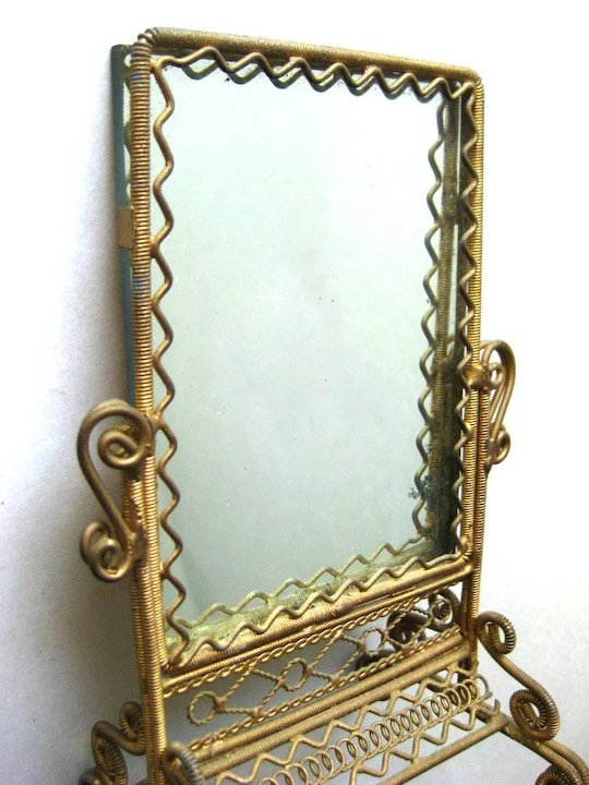Victorian Style Wrapped Wire Miniature Floor Length Mirror Dollhouse Brass