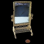 Victorian Style Wrapped Wire Miniature Floor Length Mirror / Dollhouse Mirror / Brass Mirror