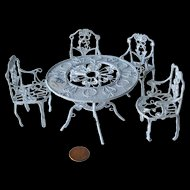 Wire Dollhouse Patio Table And Chairs Set with Original MSR Importers Label / Dollhouse Furniture / Dollhouse Furniture