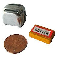 Miniature Dollhouse Toaster and Butter / Dollhouse Kitchenware / Dollhouse Miniature