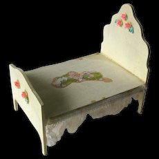 Wooden Dollhouse Bed With Rose Accents and Lace / Dollhouse Furniture / Miniature Furniture / Doll House Bedroom