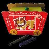 Vintage Circus Crayon Cage Wooden Box - Lithograph Box - Childs Box - Desk Accessory