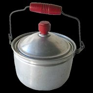 Red Handle Toy Pot with Wooden Handle - Tin Covered Pot - Childs Pot - Doll Kitchen