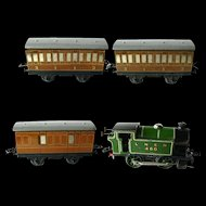MECCANO Clockwork Steam Engine Train - Hornby Tank Passenger Train Set No 101 LNER - Tinplate Wind Up Train O Guage - Vintage Mechanical Toy