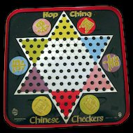 Vintage Hop Ching Chinese Checkers Metal Game Board - Lithograph Game Board - Home Decor - Game Room Decor