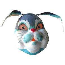Paper Mache Mask - Rabbit Mask - Bunny Halloween Decoration - Vintage Halloween Costume - Alice In Wonderland Rabbit - Vintage Mask