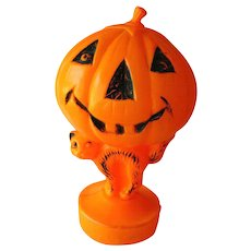 Halloween Blow Mold Plastic Pumpkin and Cat Decoration - Halloween Decoration - Vintage Halloween - Retro Halloween - Lighted Pumpkin