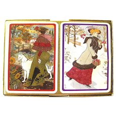 WINTER 1900 Piatnik Playing Cards Double Deck Victorian Illustration Bridge Cards