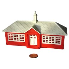 Red Schoolhouse by Bachmann Plasticville Series HO Scale - Model Train Display