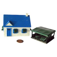 Model Railroad Cape Cod House With Detached Patio by Bachmann Trains - Plasticville Model Train Scenery
