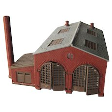 Model Railroad Engine House Red Brick Miniature With Smoke Stack - Model N Trains