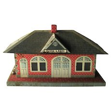 Marx Girard Tin Lithograph Whistling Train Station - Litho Train Station Depot - 1950s Model Train Accessory