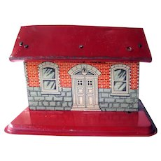 Tin Litho Toy Train Station - Model Railroad Accessory - Train Depot