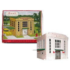 Railroad Accessory Plasticville Bank - Miniature Display - O and S Gauge Train