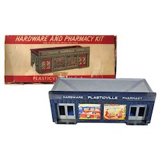 Plasticville Pharmacy and Hardware Store Model Railroad S and O Gauge - Miniature Display - Train Accessory