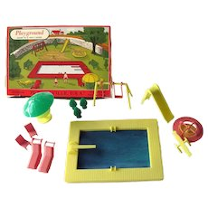 Miniature Playground and Pool From Plasticville - Vintage Dollhouse Miniatures - Doll Furniture