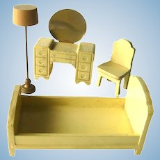 Strombecker Bedroom Set 4 Pieces Yellow Painted Dollhouse Furniture