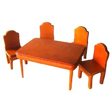 Miniature Dollhouse Table and Chair Set Dining Room Furniture
