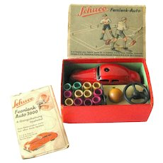 Schuco Clockwork Car Fernlenk Auto 3000 With Steering In Original Box with Accessories – Vintage Mechanical Toy