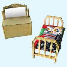 Tootsie Toys Bedroom Set With Bed and Mirrored Dresser - Vintage Dollhouse - Miniature Cast Iron Toy - Doll House Miniature by Tootsietoy