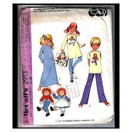 Raggedy Ann and Andy McCall's Pattern - Doll Patterns - Childrens Costumes - Iron On Transfer