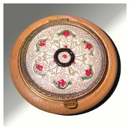 Tooled and Painted Leather & Wood Vintage Compact