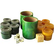 FREE SHIPPING Bakelite Tournament Backgammon Playing Pieces Set - AP Games - Cataline Butterscotch and Cataline Green Game Pieces