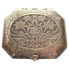 Karess Woodworth Silver Plate Compact - Vintage Powder Compact - Loose Powder Compact - 1920s Vanity Items