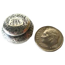 Sterling Silver Repousse Miniature Box With Monogram - Dollhouse Miniature - Patch Box
