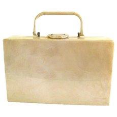 Collectible 1950s Lucite Box Purse Suitcase Purse With Marbleized Lucite Vintage Handbag