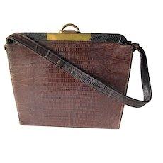 1950's-60's Brown Alligator Handbag With Brass Hardware