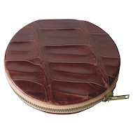 Vintage Alligator Caiman Powder Compact / Purse Accessory / Vanity Item / Purse Mirror