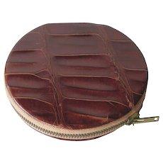 Vintage Alligator Caiman Powder Compact / Purse Accessory / Vanity Item / Purse Mirror