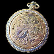 Vintage Pocket Watch Style Compact Engraved with Faux Pearl Accents / Womans Gift / Max Factor Compact / Purse Accessory