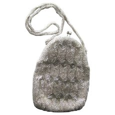 Walborg Silver Beaded Purse Art Deco Style - Vintage Beaded Purse - Bride Purse - Fashion Accessories - Vintage Wedding