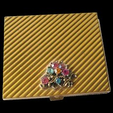 Rhinestone and Gold Vintage Powder Compact 1950s / Vanity Item / Purse Accessory