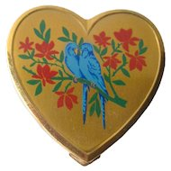 Love Birds Heart Powder Compact - Vintage Vanity Compact - Superb Powder Compact